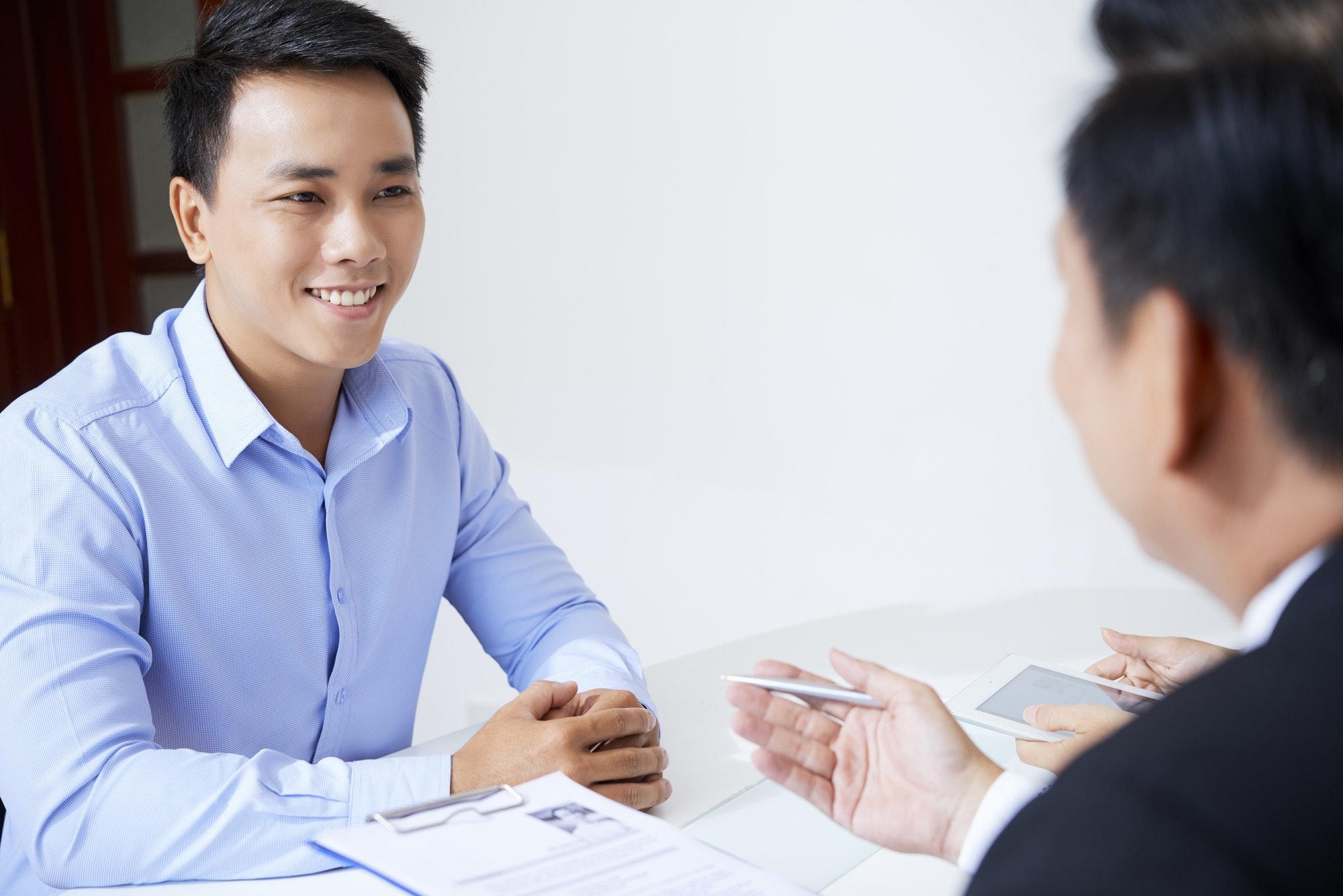 Man attending job interview